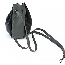 Black-gray leather pouch