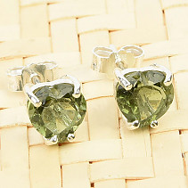 Heart moldavite earrings 6 x 6mm standard cut Ag slipper
