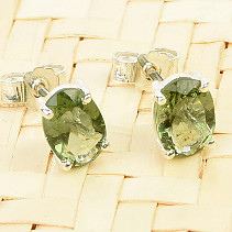 Moldavite earrings 7 x 5mm Ag puzeta standart cut