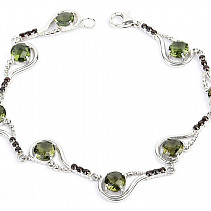 Luxury moldavite bracelet and garnets checker top cut Ag 925/1000 + Rh (20cm) 11,3g