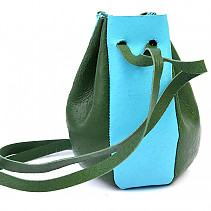 Leather bag turquoise-green
