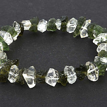 Natural moldavite bracelet and herkimer crystal 17.5g