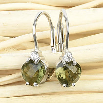 Earrings of moldavites and zircons heart 6 x 6mm checker top cut Ag 925/1000