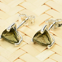 Moldavite trigon earrings 6x6mm silver Ag 925/1000 standard cut