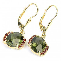 Moldavite and garnets gold earrings oval 10 x 8mm checker top cut Au 585/1000 14K 4.00g