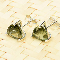 Moldavite trigon earrings 7x7mm silver Ag 925/1000 standard cut