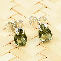 Moldavite drop earrings 6x4mm silver Ag 925/1000 standard cut