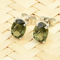 Moldavite earrings oval 7x5mm silver Ag 925/1000 standard cut