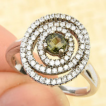 Moldavite and zircons unique ring checker top cut Ag 925/1000