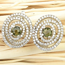Moldavite and zircons luxury earrings checker top cut Ag 925/1000 6.9g