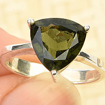 Moldavite ring size 55 trigon 10 x 10mm Ag 925/1000 standard cut 3,4g