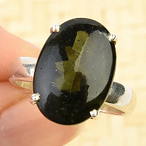 Oval ring with moldavite 17 x 12mm size 57 Ag 925/1000 6.4g