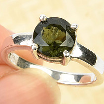Round moldavite ring 8mm standard cut Ag 925/1000