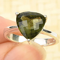 Moldavite ring size 56 trigon 10 x 10mm Ag 925/1000 checker top cut 3,4g