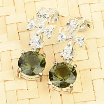 Moldavite and zircons earrings 8mm standard cut Ag 925/1000