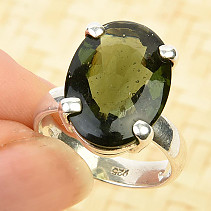 Oval ring with moldavite 18 x 13mm Ag 925/1000 6,0g (size 56)