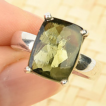 Ring with moldavite 13 x 10mm Ag 925/1000 (size 56) 4.7g