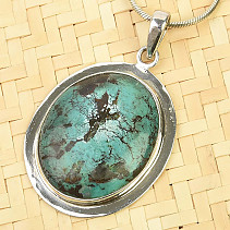 Turquoise pendant larger Ag 925/1000 10.8g