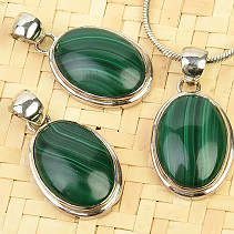 Malachite pendant oval 20 x 15mm with rim Ag 925/1000