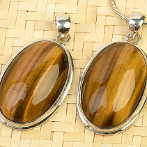 Tiger eye pendant larger oval with rim Ag 925/1000