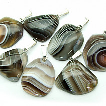 Gray banded agate freeform pendant Ag