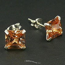 Ag square zircon earring gold - typ110