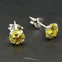 Ag zircon earrings pr.6mm yellow - typ112