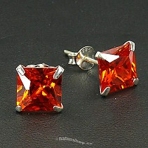 Ag zircon earrings square red - typ113