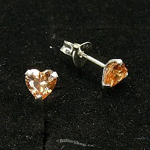 Ag zirconia earrings heart gold - typ116