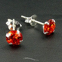 Ag zircon earrings pr.6mm red - typ118