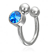 Piercing Horseshoe - blue zircon