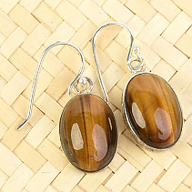 Tiger eye oval cabochon earrings Ag