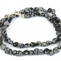 Obsidian flake necklace tromle 45 cm
