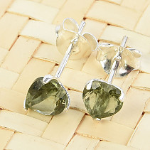Moldavite earrings heart cut 5 mm standard Ag