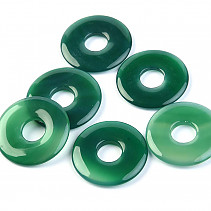 Agate dyed green donut on the leather 25 mm