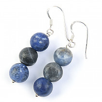 Sodalite beads earrings Ag