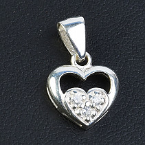 Silver heart pendant with zircons Ag 925/1000