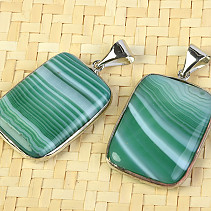 Green agate pendant - jewelery metal