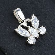 Silver butterfly pendant with zircons Ag 925/1000