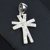 Silver pendant with zircons Ag 925/1000 cross with
