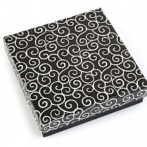 Paper gift box 9x9cm black-and-white