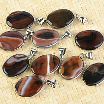 Agate oval pendant jewelry metal