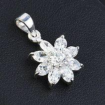 Silver flower pendant with zircons Ag 925/1000