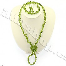 Peridot jewelry set - necklace + earrings