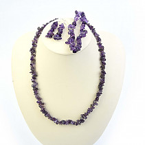 Amethyst jewelry set - necklace + bracelet + earrings