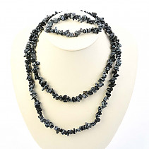 Flake Obsidian jewelry set - necklace dl. + Bracelet