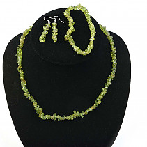Peridot jewelry set - necklace + bracelet + earrings