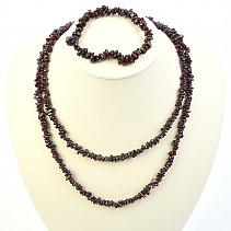 Garnet jewelry set - necklace dl. + Bracelet