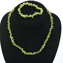 Peridot jewelry set - necklace + bracelet