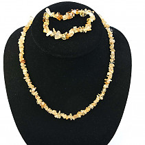 Citrine jewelry set - necklace + bracelet
